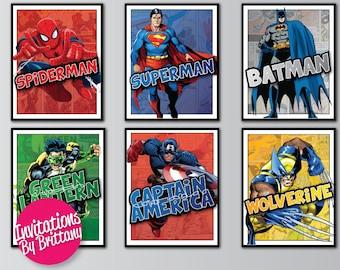 Superhero-8.5/11 Poster- Spiderman, Batman, Superman, Green Lantern, Captain America, Wolverine Character Posters