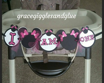 "Minnie Mouse ""I AM ONE"" Highchair Banner, Age High Chair Banner, First Birthday Banner"