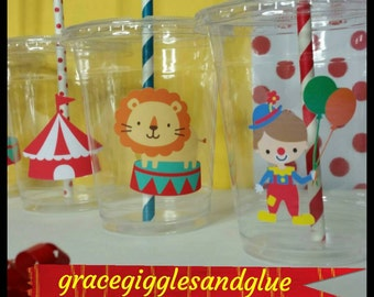 12 Circus/Carnival  Themed Party Cups with Lids and Striped Straws, County Fair Party Cups