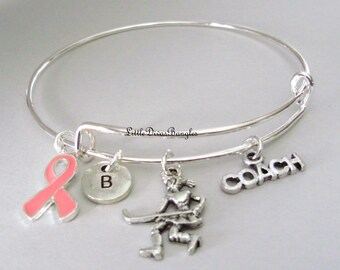 PINK  Ribbon, Field Hockey BANGLE -  Awareness  Bangle -Personalize Bangle  -Sports Bangles Gift For Her, Under Twenty made In  USA  H1