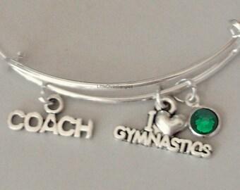 I Love GYMNASTIC / Coach  w/ Birthstone Adjustable Bangle / Gift For Her / Under Twenty /  Usa SP1