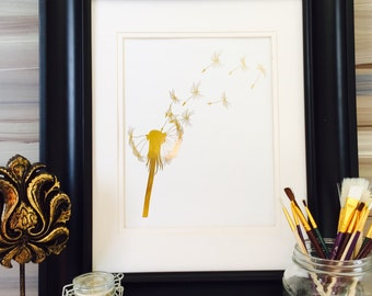 Dandelion Wall Art, make a wish, Home Decor, gold foil print, Dandelion print, dandelion seeds