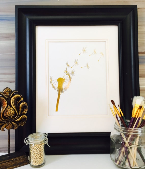 Gold Wall Home Decor : Dandelion wall art make a wish home decor gold foil print