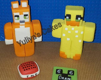 Edible Minecraft cake topper;figurine,game,tnt,  handmade decoration