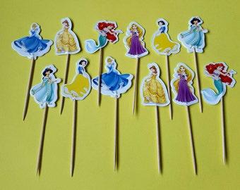 12 Disney princesses  theme cupcake picks/toppers/birthday decoration
