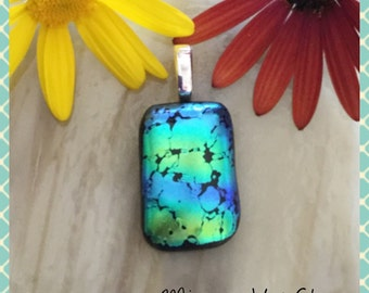 Dichroic Fused Glass Jewellery Necklace Pendant Art Glass Glass Jewelry Minerva Hot Glass, Handmade Birthday Gift