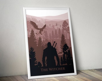 witcher 3 wild hunt inspired video game poster of geralt silhouette forest landscape