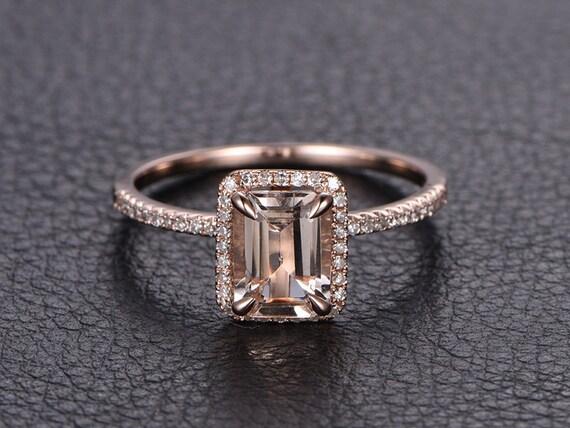 Emerald Cut Morganite Ring 14k Rose Gold Morganite By