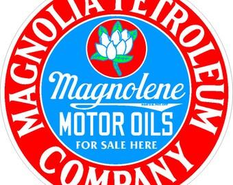 Magnolia Petroleum Metal Advertising Sign Vintage Reproduction Gas Oil Garage Art Wall Decor FREE Shipping
