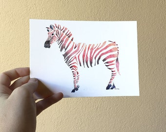 "Postcard - ""little dots and beasts, the Zebra"""