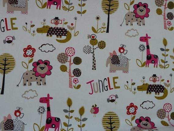 Children 39 s fabric jungle print nursery 100 by bobbobbobbin for Nursery fabric uk