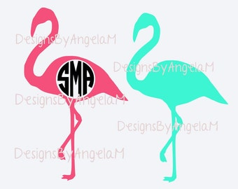 SVG  Flamingo Monogram Initials SVG Digital cutting file  Instant Download - Use on your cutting machine Vector File