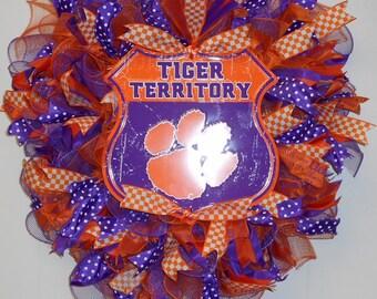 Clemson Tigers Wreath, Clemson University Wreath, Clemson Wreath, Tigers Wreath, Clemson Sports Wreath, Deco Mesh Wreath, Dorm Room Decor