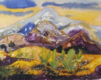Original Silk Painting - Artist Anni Mae - Beautiful, Vibrant Mountain Scape with Cacti