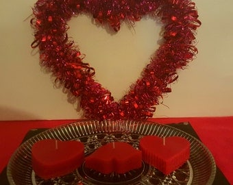 Handmade Valentine Heart  Scented Candles