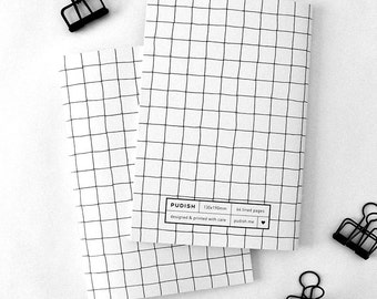 Notebook paper, Grid journal, Black and white, Grid, Slots pattern, Gift ideas