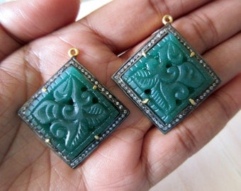2 Pieces Pave Diamond Oxidised 925 Sterling Silver Green Onyx Hand Carved Pendant, Matched Pairs, Gemstone Connectors, SKU-CC29