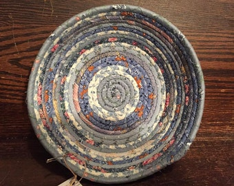 Medium Blue - Clothesline Coiled Rope Basket Fabric Bowl
