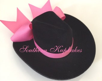 CUSTOM Mini BLACK COWGIRL Hat Pageant Boutique Prop Photo Shoot Choose Your Color Accent Ribbon Infant Toddler Girls Ladies Womens All Ages