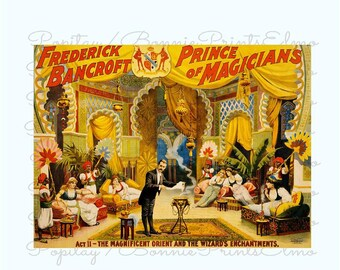 Magic Act Poster, Frederick Bancroft Magician, Theater decor, Vintage Magic Poster, illusionist Art Print, Man Cave Decor, Magician Poster,