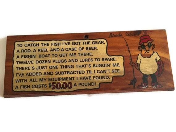 Vintage fishing sign wood fisherman sign camp decor man for Vintage fishing signs