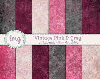 Pink and Grey Digital Paper, Scrapbook Paper, Vintage Paper, Shabby Chic, Background Paper, Junk Journal, Instant Download, Personal Use