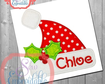 Santa Hat Christmas Design For Machine Embroidery INSTANT Download