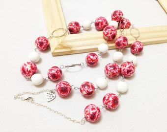 long necklace, necklace with beads, polymer clay beads, red beads