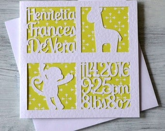 New Born Personalised Greetings Card, Baby Announcement, New Baby card, Congratulations on your new baby, New arrival card, Hand cut card