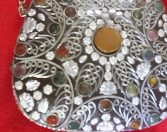 Beautiful Decorative with semi-precious stones vintage metal handbag