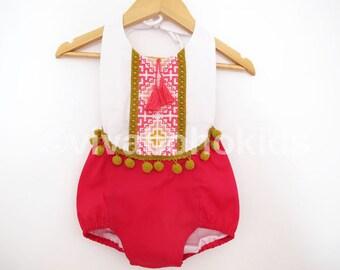 Baby Romper Baby Girl Clothing Beach Romper Playsuit Birthday Girl Gypsy romper Boho Romper Jumper Newborn Toddler Boho Baby Shower Bohemian