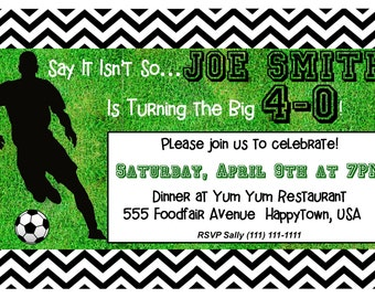 Custom Soccer Theme 40th Birthday Invitation