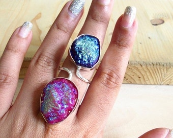 ON SALE 20% Purple and Pink Druzy Ring/2 Gemstone Multi Color Druzy Ring from Enhara Jewels/Silver Adjustable Ring