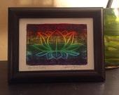 Rainbow Lotus Wood Block Print - Original Painting - Namaste - Relief Print - Colorful - Linocut Print - Lotus Flower Art