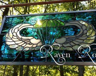 Personalized Army AIRBORNE Wings - Paratrooper - Ranger - Stained Glass Panel - Blue and Army Green - Engraved with Name and Rank