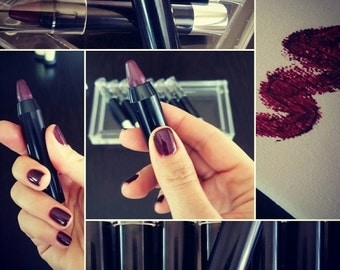 Unconditional - Deep Purplish Red Lipstick Pencil, all natural and long lasting.  Ravishing Deep Purple  Red Color. Twist-up Pencil.