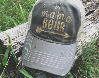 Mama Bear Trucker Hat, Mesh Hat, Trucker Hat, Hat, Caps, Headwear, Womens Trucker Hat, Gift, Womens Cap