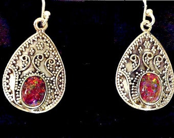 Sterling Filigree Earrings,Brown Fire Opal Stones,Gypsy,Sterling Silver,Long Frida Kahlo Style,Sterling,Southwestern, Gift for Women