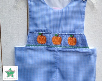 Smocked Pumpkin Longall, Smocked Longall, Smocked Boys Outfits, PRE-ORDER