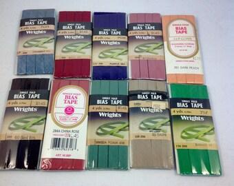 Single Fold Bias Tape - Wrights Trim - 10 Pack Assortment