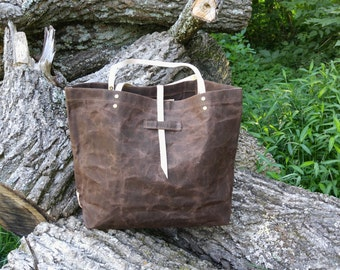 Chocolate Waxed Canvas Tote
