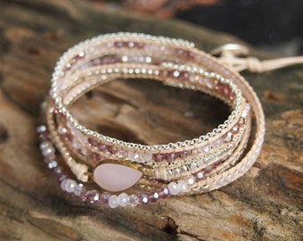 Tiny Pink mix wrap bracelet, Bridesmaid Jewelry Wedding gift