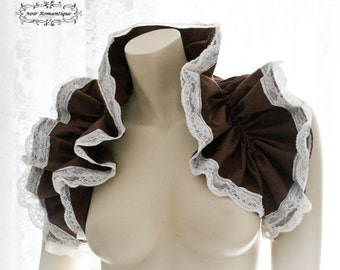 Brown steampunk bolero/shrug -steampunk accessories-brown with white lace bolero-Bolero/shrug-Costume piece-Ruffle shrug