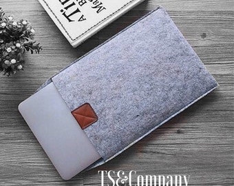 Eco-Friendly+USA Made+Felt and Leather Laptop Sleeve