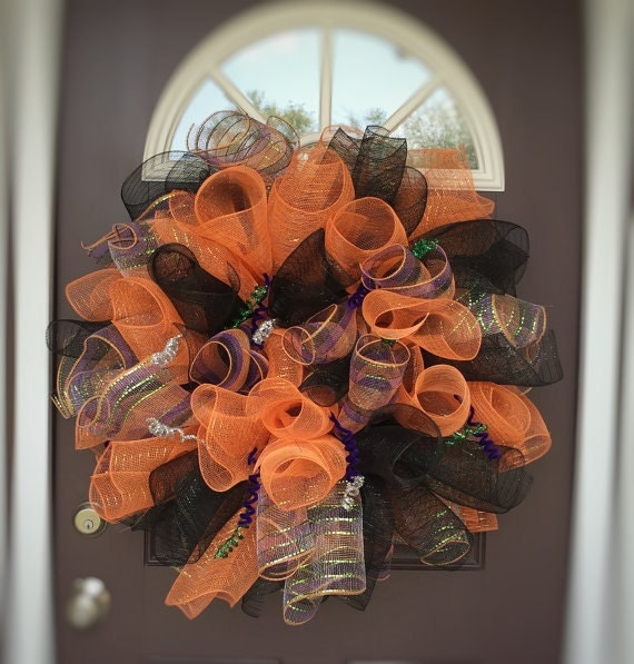 Items similar to halloween deco mesh wreath front door for 3 wreath door decoration