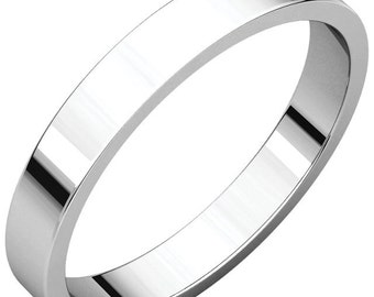 14K White Gold 3mm Flat Wedding Band or Stackable RIng for Men and Women in size 4 to 16
