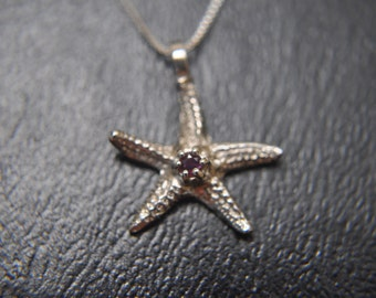 """Sterling Silver Ruby Starfish Nautical Ladie's Necklace 18"""" long"""