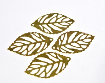 8 Gold leaf charms - Leaf Earring Charms - Leaf Charms for Earrings - Gold Leaf Jewelry - Tree Leaf Charms - Nature Charms - GC1485