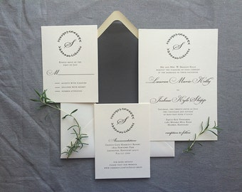 Sample Drawn Laurel with single initial monogram wedding invitation with gray ink