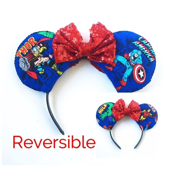 Avengers Mickey Ears, Thor Ears, Captain America Ears, Hulk Ears, Iron Man Ears, Double Sided Superhero Ears,Reversible Disney Inspired Ears